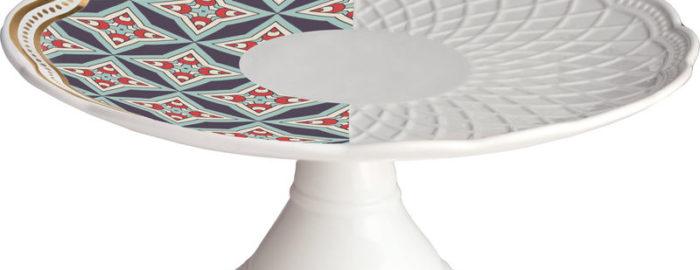 Baci Milano Alzata Cake in porcellana royal mix nets